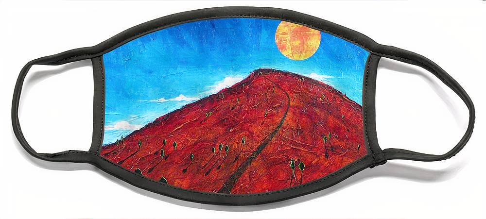 Landscape Face Mask featuring the painting Sun Over Red Hill by Rollin Kocsis