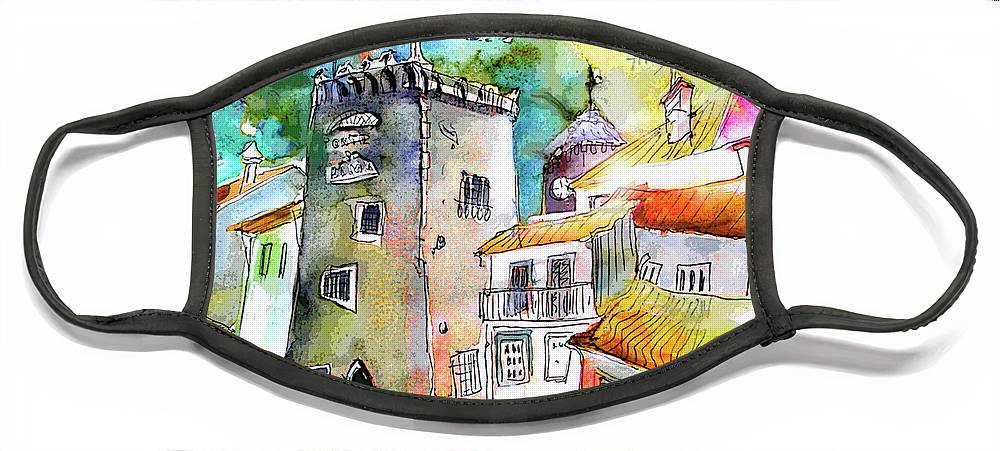 Portugal Face Mask featuring the painting Tower in Ponte de Lima in Portugal by Miki De Goodaboom