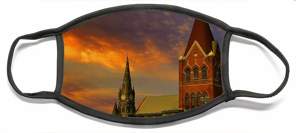Church Face Mask featuring the photograph Towers Of Faith by Brian Fisher