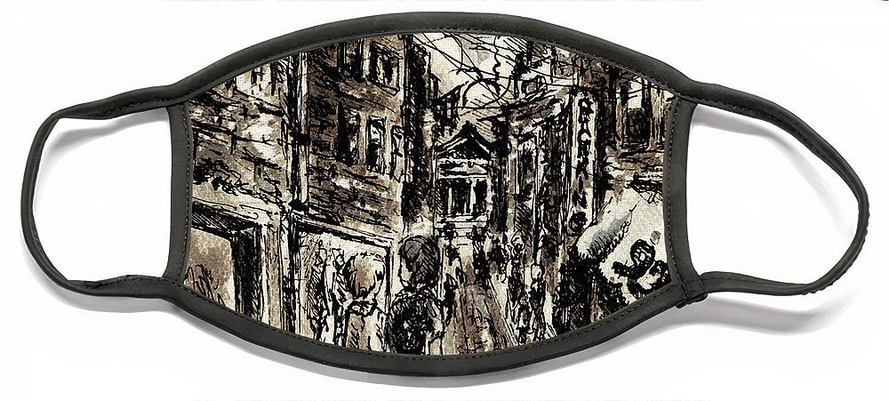 City Face Mask featuring the painting Walkin In The City by William Russell Nowicki
