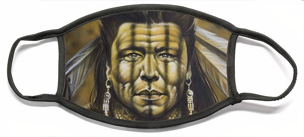 Native American Face Mask featuring the painting Warpath by Timothy Scoggins