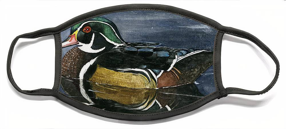 Wood Face Mask featuring the painting Wood Duck by Mary Tuomi