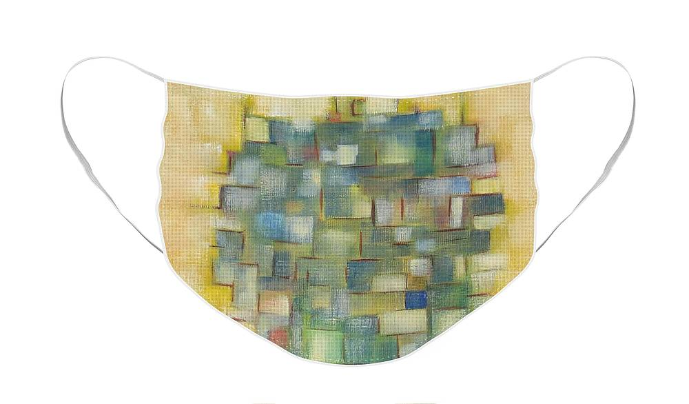 Abstract Face Mask featuring the painting Yellow with Green by Patricia Cleasby