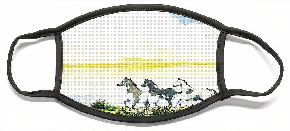 Chincoteague Face Mask featuring the painting Indian Ponies by Jerome Stumphauzer