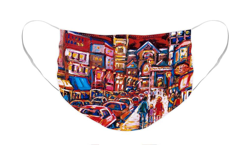 City Scenes Face Mask featuring the painting The Night Life on Crescent Street by Carole Spandau