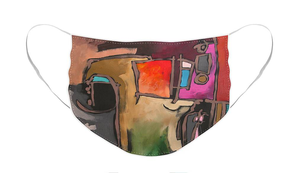 Art Face Mask featuring the painting After The Storm by Linda Monfort