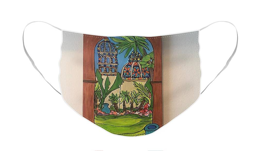 Landscape- Historical Area Face Mask featuring the painting Balboa Park by Michelle Gonzalez