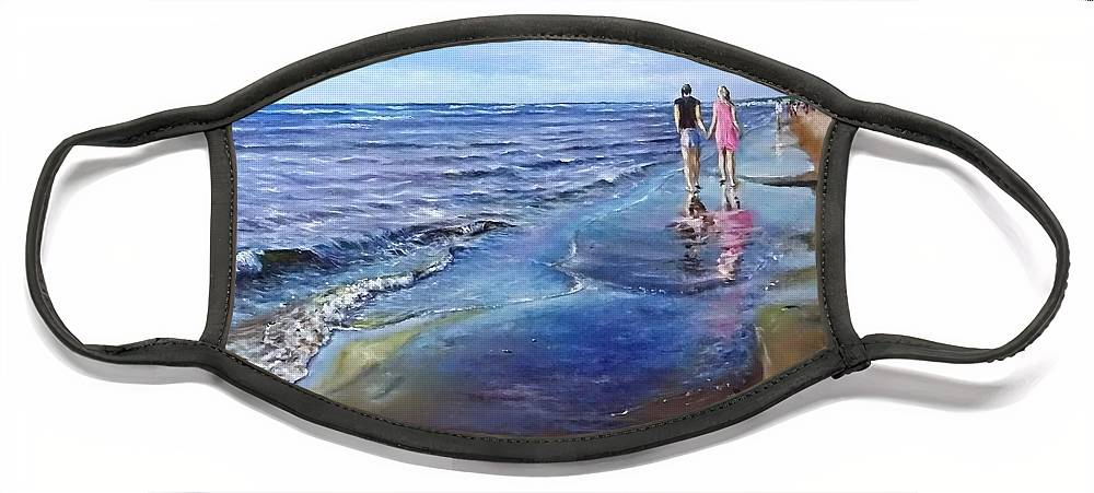 Sea Face Mask featuring the painting Baltic beach by Natalja Picugina