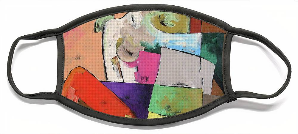Original Painting Face Mask featuring the painting Black Glove by Linda Monfort
