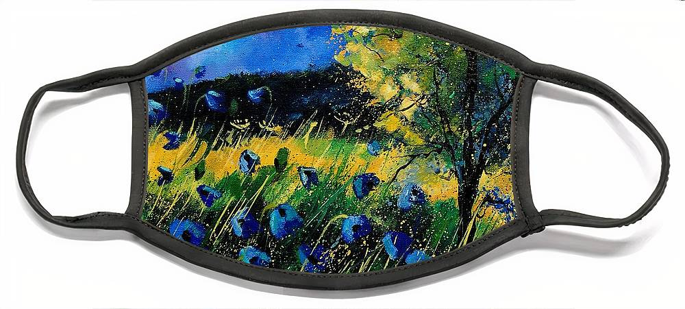 Poppies Face Mask featuring the painting Blue poppies by Pol Ledent