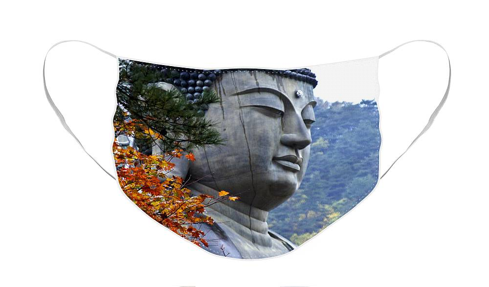 Buddha Face Mask featuring the photograph Buddha in Autumn by Michele Burgess
