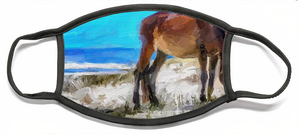 Cumberland Island Pony Horse Face Mask featuring the digital art Cumberland Pony by Scott Waters