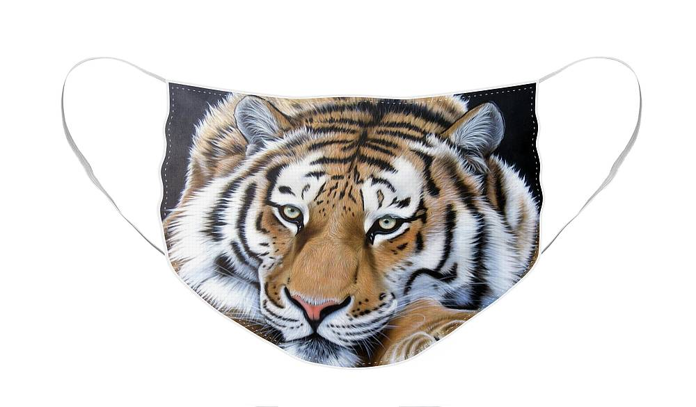 Tiger Face Mask featuring the painting Daydream by Sandi Baker