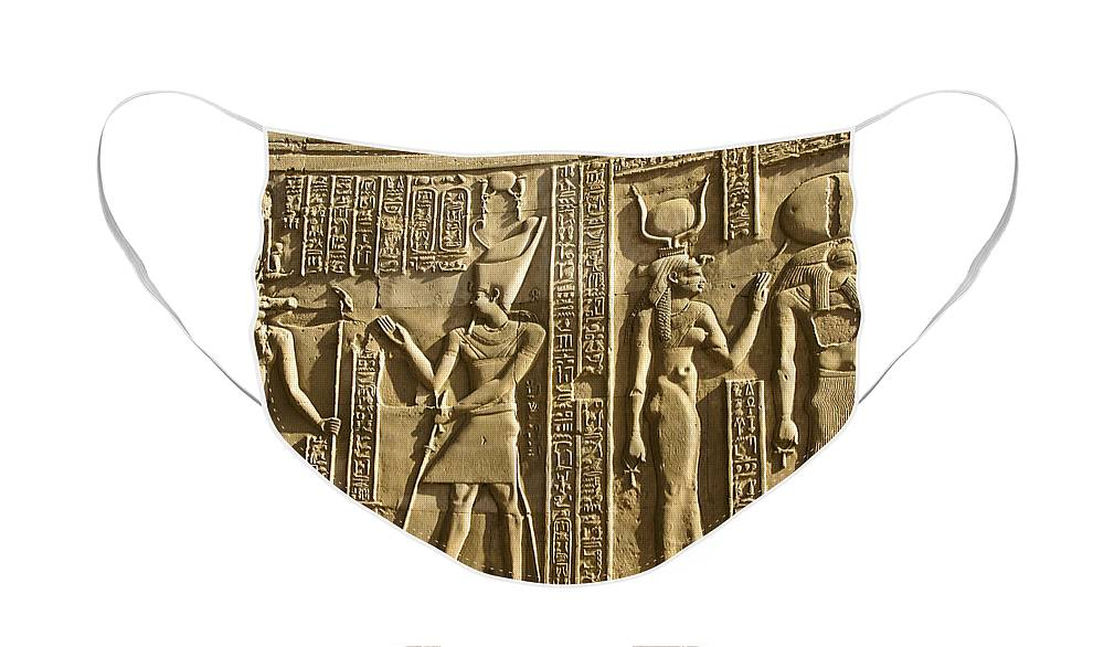 Egypt Face Mask featuring the photograph Egyptian Temple Art by Michele Burgess