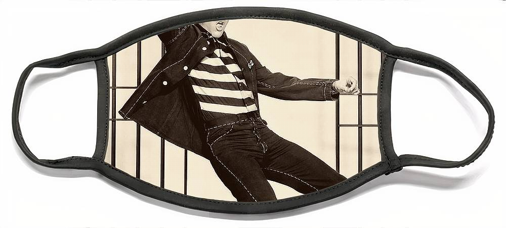 Publicity Photo Face Mask featuring the photograph Elvis Presley in Jailhouse Rock 1957 by Mountain Dreams