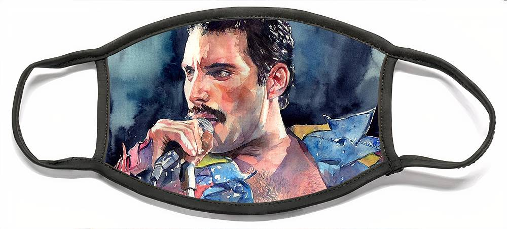 Freddie Face Mask featuring the painting Freddie Mercury portrait by Suzann Sines
