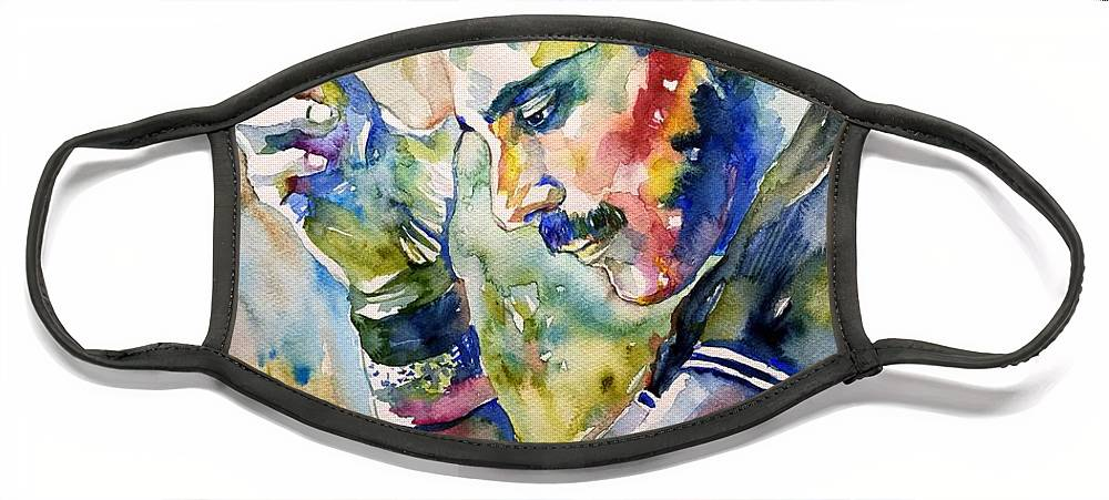 Freddie Face Mask featuring the painting Freddie Mercury watercolor by Suzann Sines