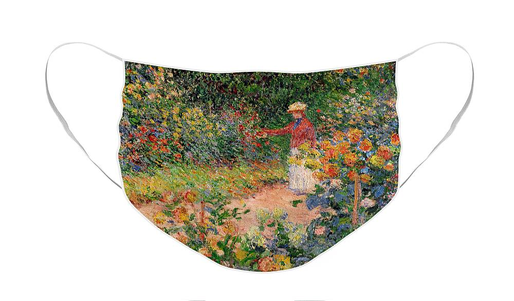 Garden Face Mask featuring the painting Garden at Giverny by Claude Monet