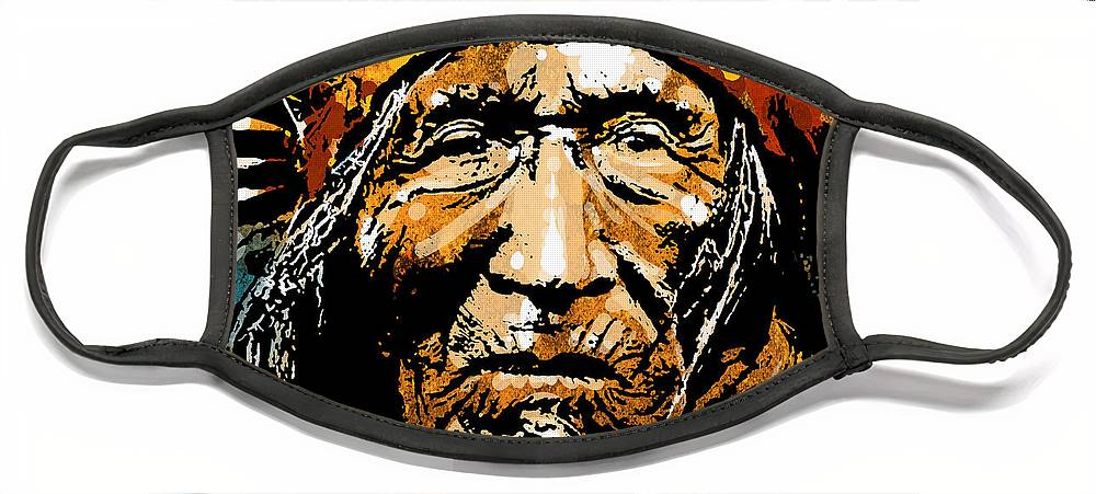 Native American Face Mask featuring the painting He Dog by Paul Sachtleben
