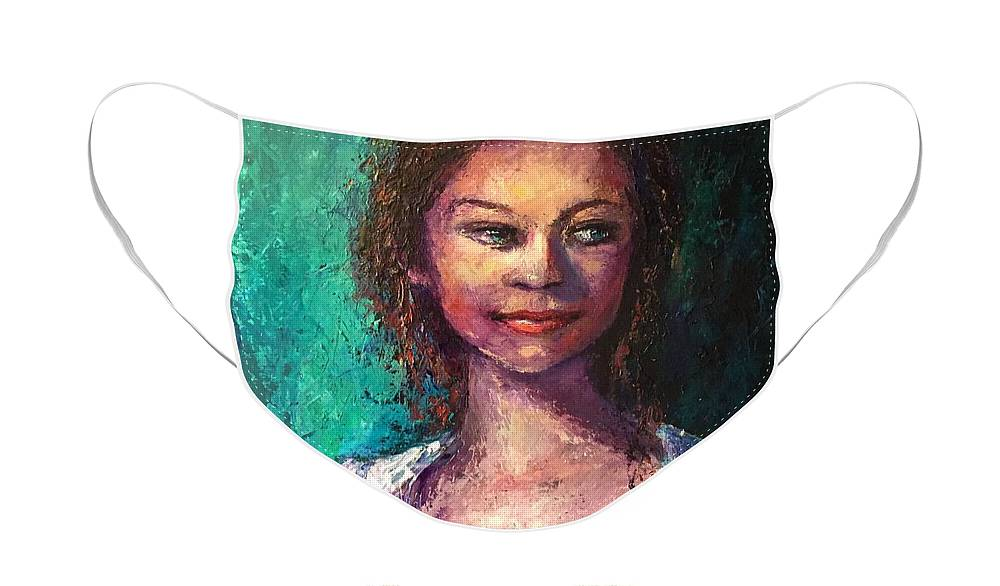 Jessica Face Mask featuring the painting Jessica by Shannon Grissom