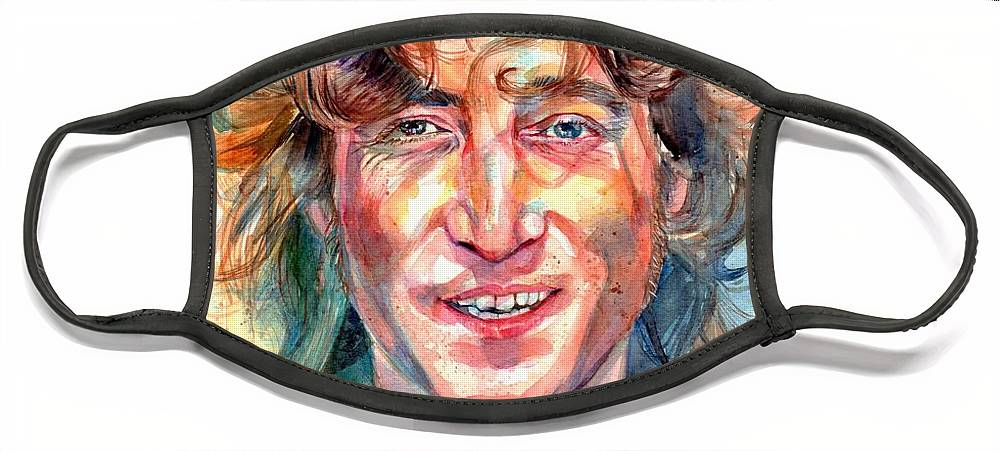 John Lennon Face Mask featuring the painting John Lennon portrait by Suzann Sines