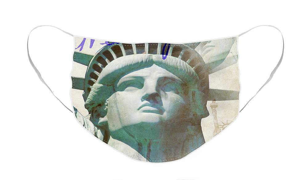 Empire State Building Face Mask featuring the photograph Lady Liberty by Jon Neidert