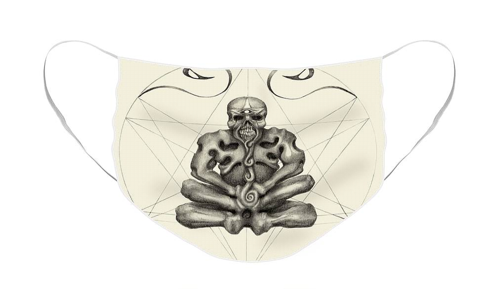 Meditation Face Mask featuring the drawing Macabre Meditation by J P Lambert