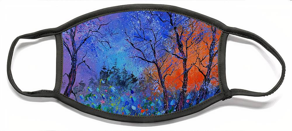 Landscape Face Mask featuring the painting Magic wood by Pol Ledent