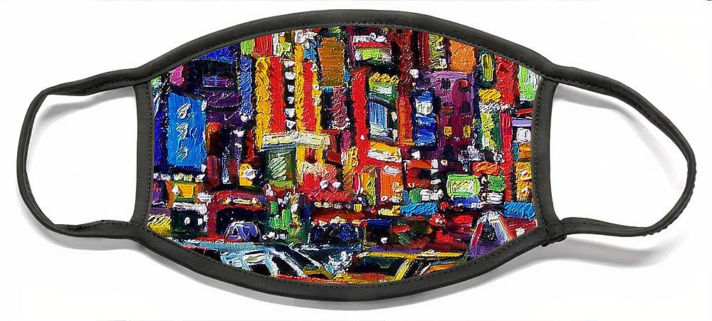 New York City Face Mask featuring the painting New York City by Debra Hurd