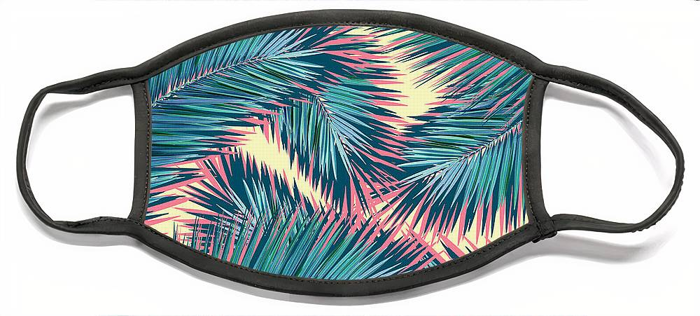 Palm Trees Face Mask featuring the digital art Hello Summer by Mark Ashkenazi