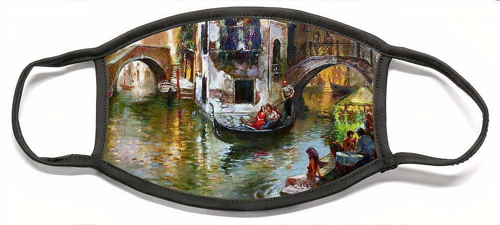 Romance In Venice Face Mask featuring the painting Romance in Venice by Ylli Haruni