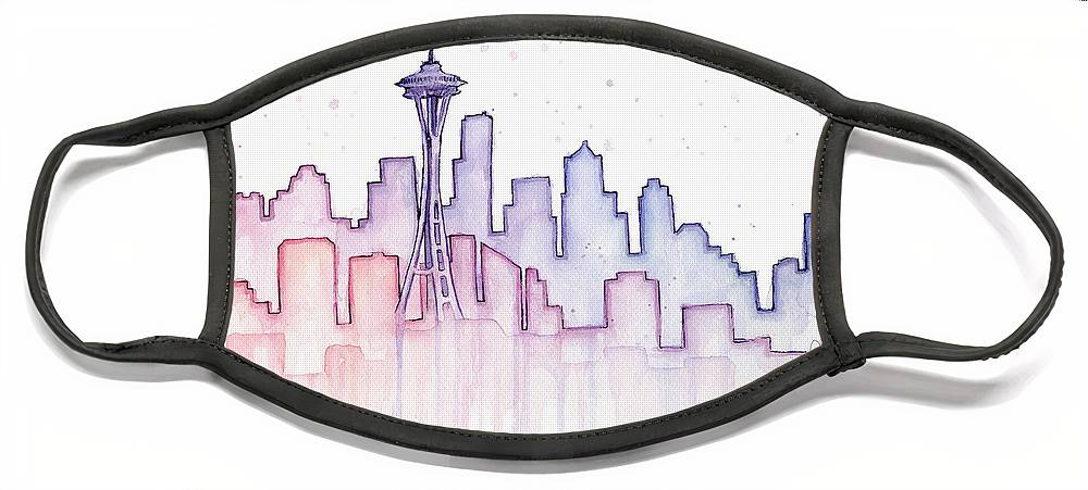 Watercolor Face Mask featuring the painting Seattle Skyline Watercolor by Olga Shvartsur