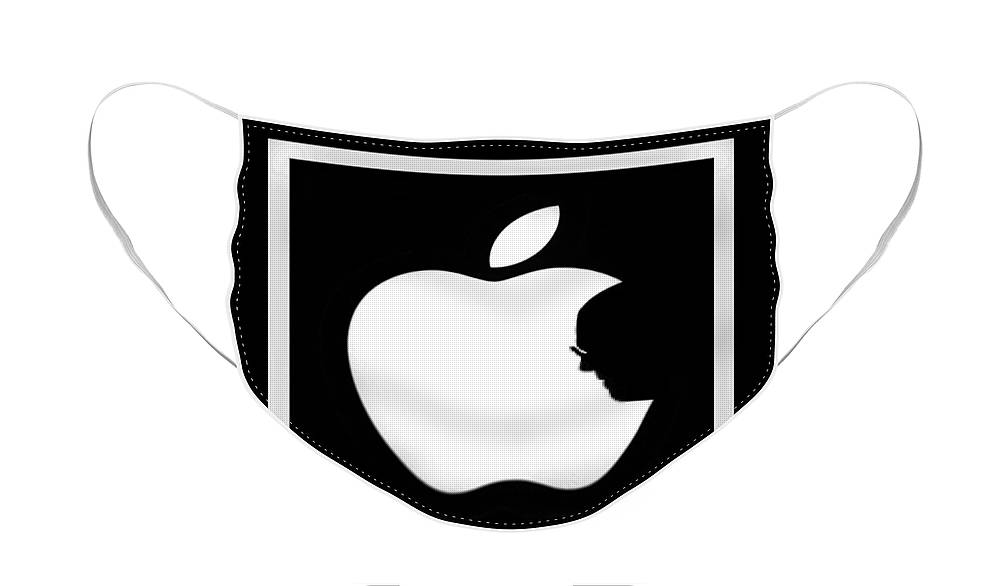 Black And White Face Mask featuring the photograph Steve Jobs Apple by Rob Hans