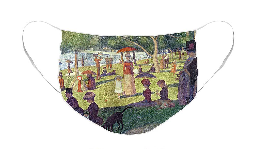 Sunday Afternoon On The Island Of La Grande Jatte Face Mask featuring the painting Sunday Afternoon on the Island of La Grande Jatte by Georges Pierre Seurat