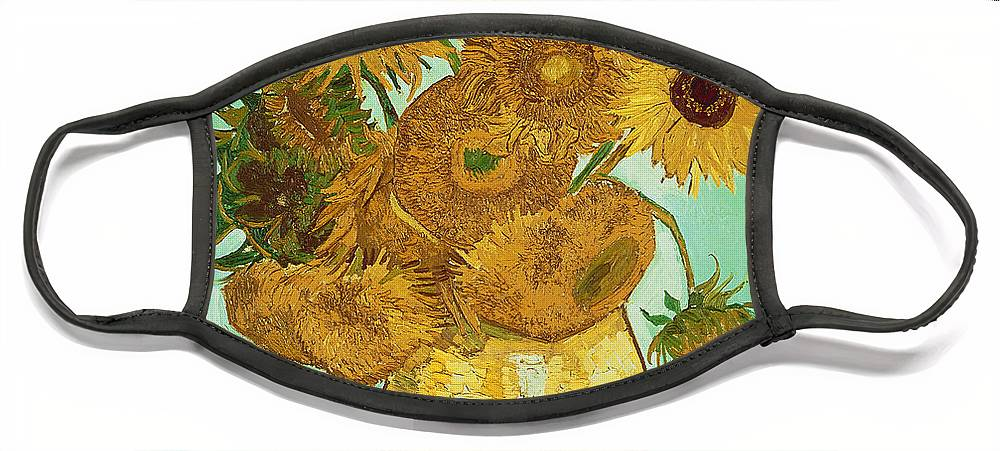 Sunflowers Face Mask featuring the painting Sunflowers by Van Gogh by Vincent Van Gogh