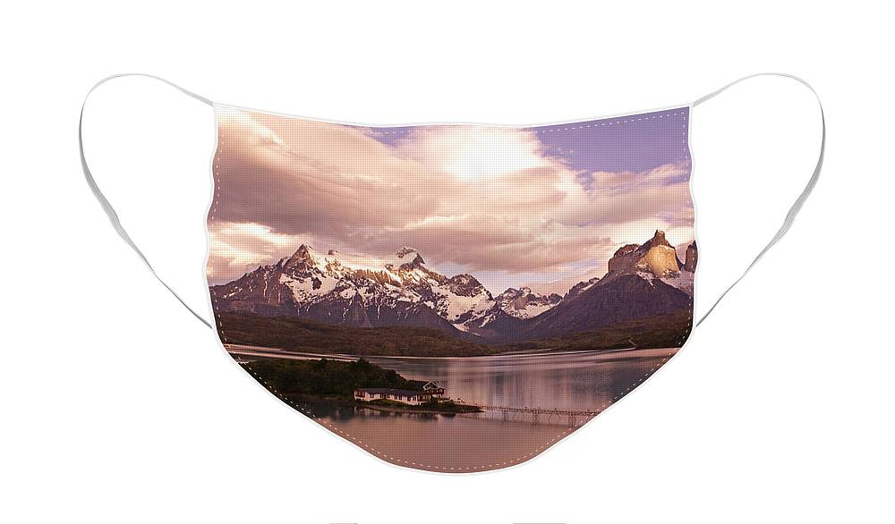 Chile Face Mask featuring the photograph Sunrise in Torres del Paine by Michele Burgess