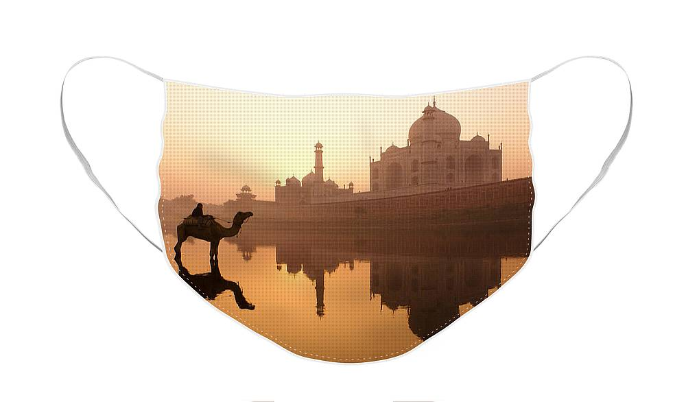 Sunrise Face Mask featuring the photograph Taj Mahal at Sunrise by Michele Burgess