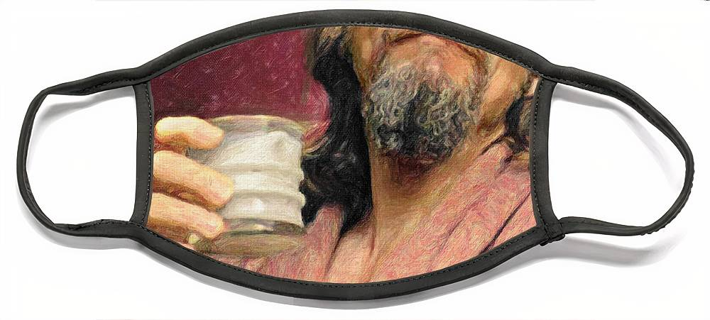 The Dude Face Mask featuring the painting The Dude by Zapista OU