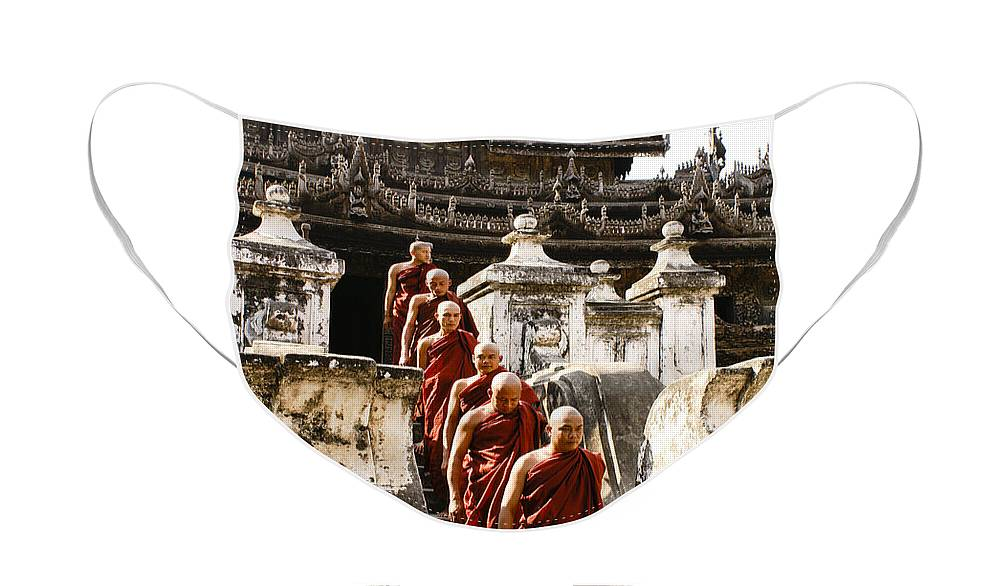Myanmar Face Mask featuring the photograph The Old Monastery by Michele Burgess