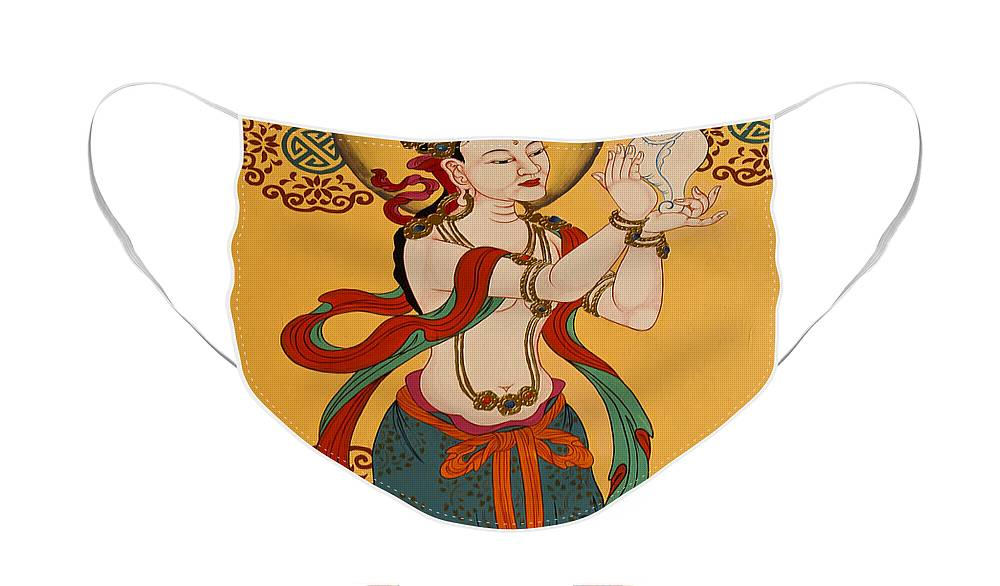 Asia Face Mask featuring the photograph Tibetan Buddhist Mural by Michele Burgess