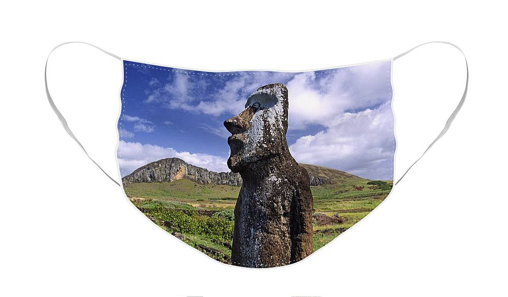 Easter Island Face Mask featuring the photograph Tongariki Moai on Easter Island by Michele Burgess