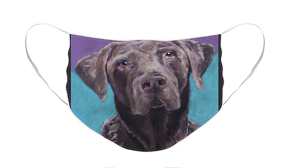 Pet Portrait Commissions Face Mask featuring the pastel Max by Pat Saunders-White