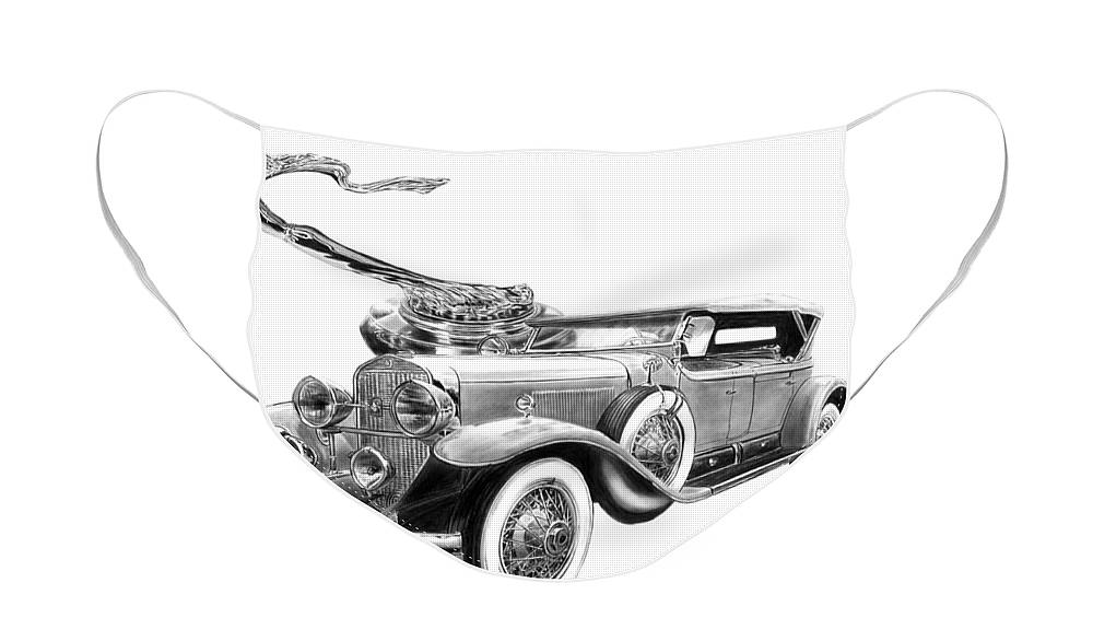 1929 Cadillac Face Mask featuring the drawing 1929 Cadillac by Peter Piatt