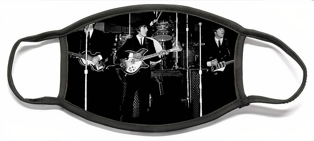 Beatles Face Mask featuring the photograph Beatles In Concert 1964 by Larry Mulvehill