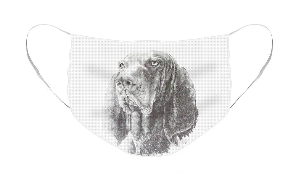 Purebred Dogs Face Mask featuring the drawing Black and Tan Coonhound in Graphite by Barbara Keith