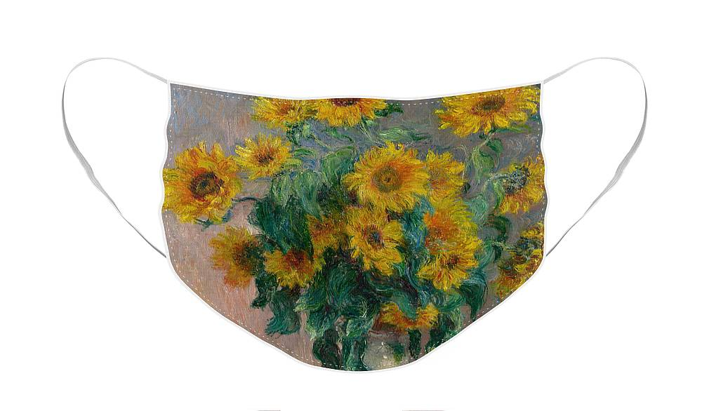 Monet Face Mask featuring the painting Bouquet of Sunflowers by Claude Monet