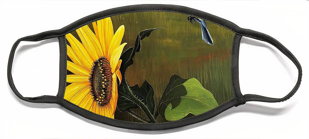 Sunflower Face Mask featuring the painting Bright As Yellow by Hunter Jay