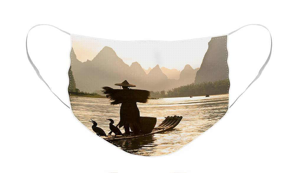 Asia Face Mask featuring the photograph Cormorant Fisherman on the Li River by Michele Burgess