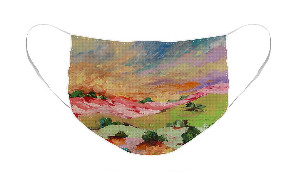 Art Face Mask featuring the painting Morning Mist by Linda Monfort