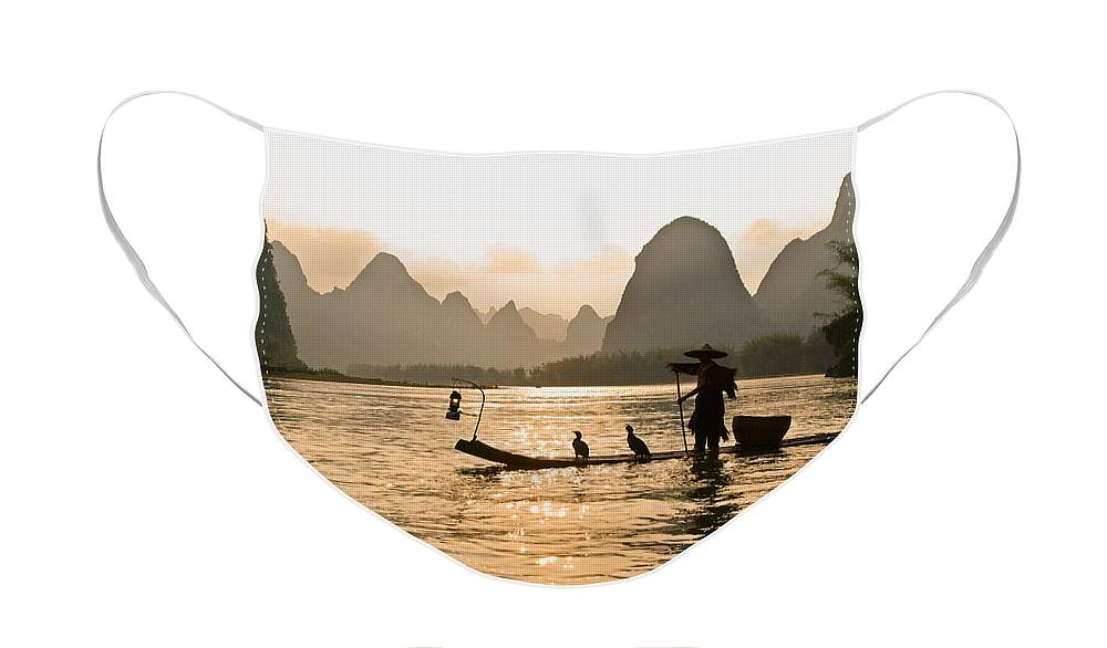 Asia Face Mask featuring the photograph Sunset on the Li River by Michele Burgess